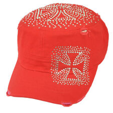 Iron Cross Rhinestone Gems Military Distressed  Fashion Womens Hat Red