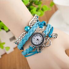 Analog Quartz Dial Watch Leather Handmade Weave Angel Wing Bead Wrist Bracelet