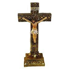 "Jesus on the Cross Crucifix Religion Free Standing Statue Religious Decor 8"" H"