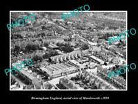 OLD LARGE HISTORIC PHOTO BIRMINGHAM ENGLAND AERIAL VIEW OF HANDSWORTH c1950 1
