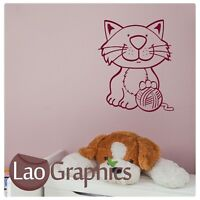Cute Kitten House Cat Wall Art Sticker Large Vinyl Transfer Graphic Decal ca11