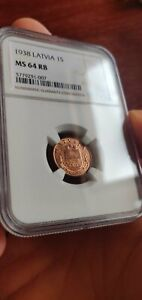 1 Santims 1938 NGC MS64 RB, rare, only 1 coin in higher grade!