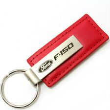 Genuine Red Leather Rectangular Silver Ford F150 Logo Key Chain Fob Anello