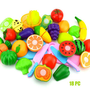1 Set Kids Pretend Role Play Kitchen Fruit Vegetable Food Toy Cutting Gift