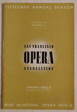Sf Opera Association rare vintage program Oct 15/Nov 13 1937 merola