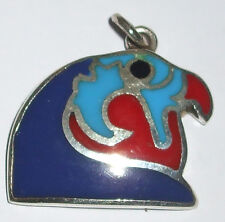 Horus (as a Falcon's Head).925 Silver Pendant inlaid with Red Coral, Turquoise,