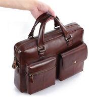 Men Cowhide Leather Briefcase Shoulder Bag 14'' Laptop Handbag Travel Tote