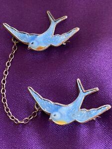 VINTAGE SILVER & ENAMEL SWALLOW BLUEBIRD DOUBLE BROOCH