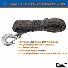 7MM X 15M DYNEEMA SK75  MARINE HAND WINCH ROPE BOAT CAR TOW RECOVERY BLK 10034