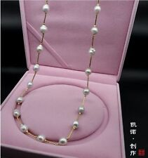 natural baroque Japan kasumi white pearl necklace 30 inch 14K