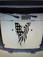 AMERICAN EAGLE JEEP WRANGLER DISTRESSED FLAG HOOD DECAL JK  TJ YJ CHOOSE COLOR