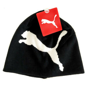 PUMA Black Big Cat Beanie Bobble Hat Cap Mens Adults One Size