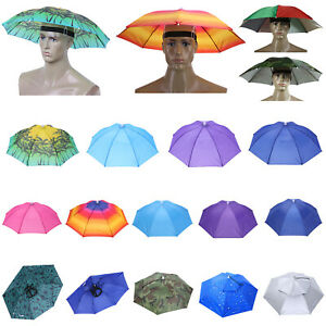 UK Foldable Head Umbrella Outdoor Camping Anti-UV & Rain Headwear Cap Umbrel