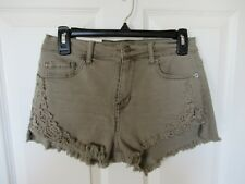 Mudd Green Denim Crochet Lace Cut Off Shortie High Rise Stretch Shorts 9 NWT