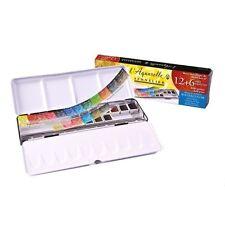 Sennelier l'aquarelle artistes aquarelle 12 demi-pan + 6 gratuit! boîte en métal set