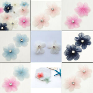 5/15/30pcs Organza Ribbon Flowers W/Rhinestone DIY Appliques Craft Wedding Decor