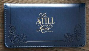 Checkbook Cover, Be Still And Know Ps. 46:10 Navy Checkbook Cover, Faux Leather