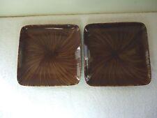 "Oneida Set Of 2 Horizon Swirl Stoneware Square Serving Plates "" BEAUTIFUL SET"