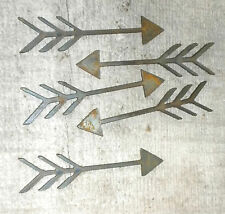 Lot of 5 Arrows Feathers 4 In Rusty Metal Vintage Craft Stencil Ornament Magnet