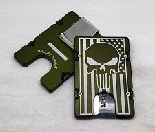 American Flag with Punisher, Aluminum Wallet/Card Holder RFID Protection, Green