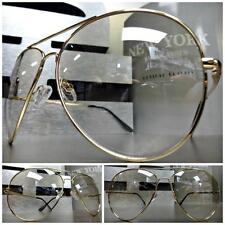 OVERSIZED VINTAGE AVIATORS Style SUN GLASSES Clear Lens Slight Tint Gold Frame