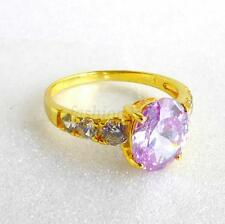 24K Yellow Gold Plated Oval Lilac CZ Cubic Zirconia Engagement Ring Size J K L