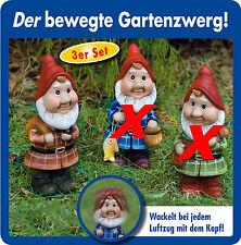3er Set Wackelzwerge Gartenzwerge Zwerge Gartendeko Figur  Zwerg Gartenzwerg NEU
