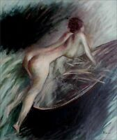 Quality Hand Painted Oil Painting Nude Pushing Boat 20x24in