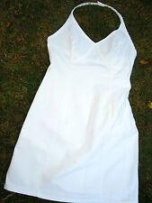 Weißes hochsommerliches Kleid BENETTON Gr.38 Neckholder, Seiten-RV, Jeans-Style