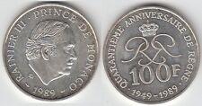 Gertbrolen MONACO 100 Francs Argent  40 Ans du Règne de  Rainier III 1989 N° 9
