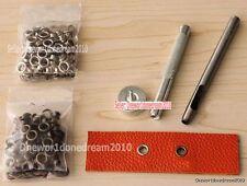 3.5MM Grommet Installation Setting Tool Kit Set + Leather Hole Punch +80 Eyelets