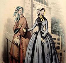 LE FOLLET 1845 Hand-Colored Fashion Plate #1286 Toilette de Ville ORIG.PRINT