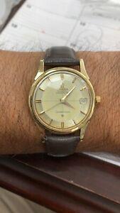 Vintage 1960s Omega Constellation Chronometer 18k Yellow Gold  Pie Pan