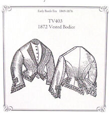 Sewing Pattern for 1872 Vested Bodice Jacket blouse top all sizes TV403