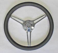 "64-66 Chevy II 2 Nova Impala Black Leather on Billet Steering Wheel 14 3/4"""