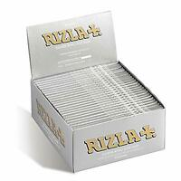 12 x RIZLA SILVER KING SIZE SLIM ULTRA THIN CIGARETTE SMOKING ROLLING PAPERS
