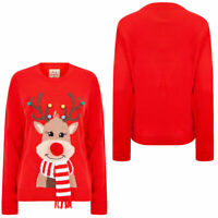 Womens Christmas Jumper Reindeer Design Novelty Xmas Sweater Pullover Top Red