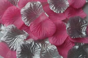 100 x SILVER and LIGHT PINK SILK ROSE PETALS WEDDING TABLE CONFETTI UK