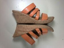 Born Concepts 10 Orange Leather Strappy Wedge Sandal BOC