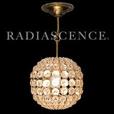HOLLYWOOD REGENCY CUT GLASS PRISM GLOBE BALL CHANDELIER BRASS SWAG HANGING LAMP