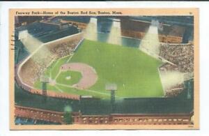 Boston MA Massacusetts Linen  Postcard Sports Baseball Stadium Fenway Park 1951