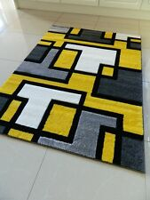 Multi Coloured Funky Bright Modern Thick Soft Heavy Area Rug Runner Mat Round 66 X 230 Cms (hall Runner) Yellow Black Cream Squares