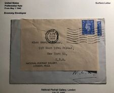 1950 London England national Gallery  Economy Label Cover To New York USA
