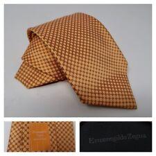 Ermenegildo Zegna Men's Silk Neck Tie Orange Medallion Geometric Classic Italy