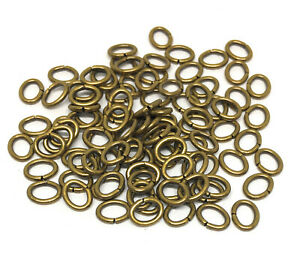 antiqued gold plated brass open oval jump rings 6mm x 4mm 18 gauge