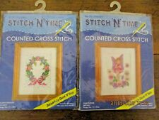 2 x STITCH 'N' TIME Counted Cross Stitch Kits-FLORAL WREATH & FAIRY BOWER-UNUSED
