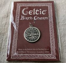 Celtic Mourie August Birth Charm Necklace Pendant Tree 925 Sterling Silver 1999