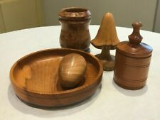 Collection of 5 Turned wooden items by A.Truman, 'Tru-Turn', Kirby, Notts