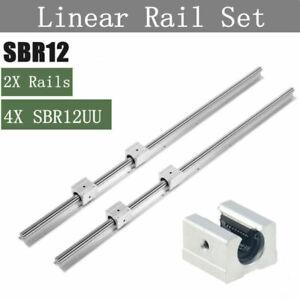 SBR12 300-1500mm Linearführung Rail Gleitschiene + 4x SBR12UU Linearblock CNC