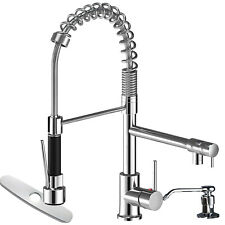 Kitchen Faucet Swivel Single Handle Sink Pull Down Sprayer Cover Soap Dispenser
